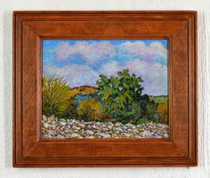 Impressionist southwest landscape painting available with a frame made of recycled wood by Robert Price. www.etsy.com/shop/robertpricegallery