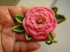 Crochet pink irish rose 3d flower brooch pin cotton floral