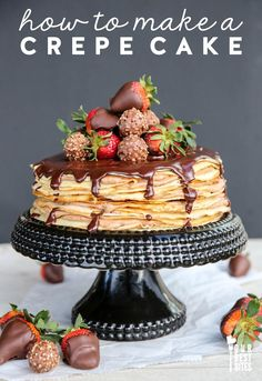 Strawberry Chocolate Crepe Cake A delicious and decadent cake made by layering delicate crepes and sweet fillings. Looks amazingly impressive but it's not hard to make! Köstliche Desserts, Delicious Desserts, Dessert Recipes, Yummy Food, Pancake Recipes, Waffle Recipes, Plated Desserts, Breakfast Recipes, Chocolate Crepes