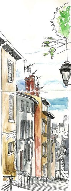Toutes les tailles | 2010 06 27 Chemin de Montauban - Lyon France | Flickr : partage de photos ! Sketch Painting, Watercolor Sketch, Watercolor Paintings, Travel Sketchbook, Art Sketchbook, Urban Sketchers, Architecture Drawings, Urban Landscape, Urban Art