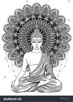 Sitting Buddha over ornate mandala round pattern. Sitting Buddha over ornate mandala round pattern. Buddha Tattoo Design, Buddha Tattoos, Mandala Art, Mandala Drawing, Mandala Painting, Mandala Design, Buddha Kunst, Buddha Art, Hippie Tattoo