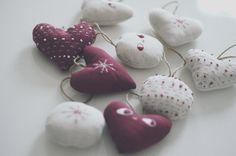Set of four Christmas tree ornaments fabric by lelelerele on Etsy