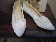 Vintage USA Bridal Pumps/ adorned with seed beads by vintagediva50