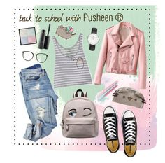 """#PVxPusheen"" by clarinette38 on Polyvore featuring Pusheen, Converse, Linda Farrow, Givenchy, MAC Cosmetics, Daniel Wellington, contestentry and PVxPusheen"