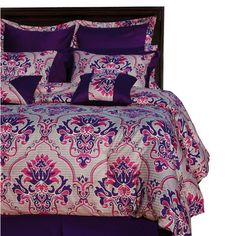 An impressive showcase of elegance and sophistication, this intriguing all-cotton bedding collection by Tribeca Living features damask pattern in royal purpl...