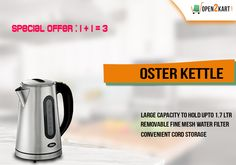 Open2kart  offers you OSTER KETTLE which hold upto 1.7 Ltr of water. Shop online on   http://open2kart.com/index.php/home-kitchen/cutlery-kitchen-items/oster-kettle-bvstkt5970.html