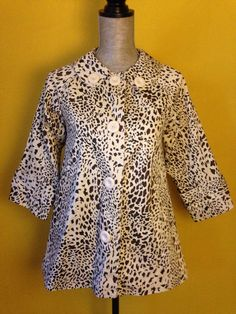 Forever 21 Leopard White Swing Coat 3/4 Sleeve Satin Lined Button Down S Fall #Forever21 #SwingCoat