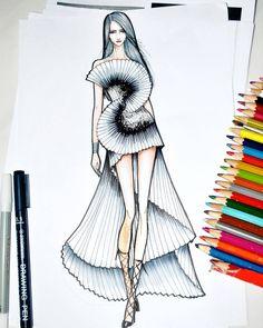 Fashion Design Books, Fashion Design Sketchbook, Fashion Design Portfolio, Fashion Design Drawings, Fashion Sketches, Art Sketchbook, Fashion Drawing Dresses, Fashion Illustration Dresses, Drawing Fashion