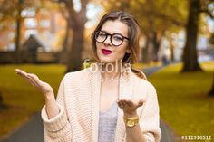 Smart attractive girl with open arms
