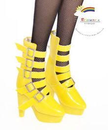 "16"" Tonner Tyler/Ellowyne Shoes 5-Strap Boots Pt Yellow"