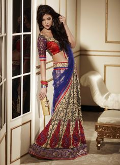 Brown Art Silk and Net Lehenga Saree 19146 With Unstitched Blouse