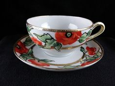 Vintage Hand Painted Japan Poppies Tea Cup and Saucer EUC FREE SHIPPING! | Antiques, Decorative Arts, Ceramics & Porcelain | eBay!