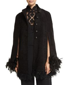 TAYLM Nanette Lepore Button-Front Cape with Feather Trim  l Bergdorf Goodman