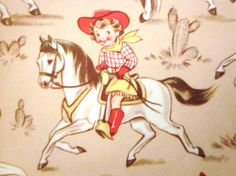 Vintage Wrapping Paper  Cowboys and Cowgirls by TillaHomestead, $6.50