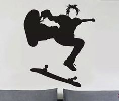 Skateboarder 4  uBer Decals Wall Decal Vinyl Decor by uBerDecals
