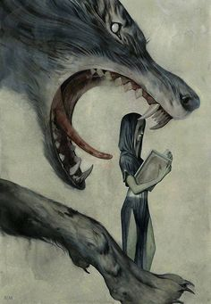 The better to eat you with... Big Bad Wolf.   wolves, wolf, werewolf (by: Joao Ruas as long as she doesn't put that book down she'e good...)