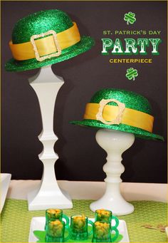 Easy Leprechaun Hat Party Centerpiece- it literally takes about 5 minutes to put together once you have the elements!