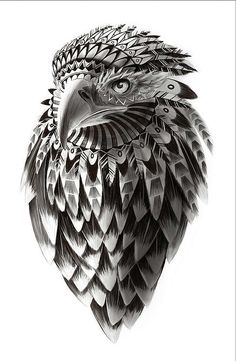 American Eagle fine art illustration / print / drawing /  black and white fantasy feathered SHAMAN EAGLE 8X10