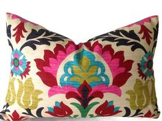 Floral Pillows, Pillows, Decorative Throw Pillow Cover, Designer Pillows, Pink, Red, Green, Turquoise Pillows, Multi Color Pillows