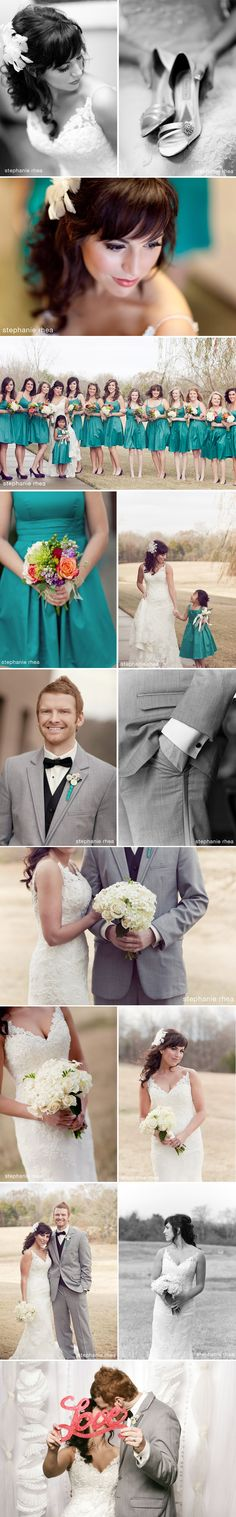 Lace wedding dress + grey groom's suit + aqua
