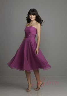 Simple Purple Silvery White Bridesmaids Dresses Trumpet Tea Length Strapless Satin Lace B9808