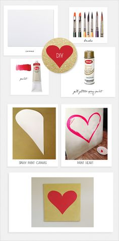 diy gold canvas and heart painting. So easy and about $30