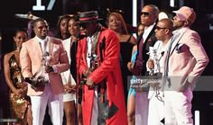 Ricky Bell, Bobby Brown, Johnny Gill, Ronnie DeVoe, Michael Bivins and Ralph Tresvant of New Edition accept the Lifetime Achievement Award onstage at 2017 BET Awards at Microsoft Theater on June 25, 2017 in Los Angeles, California.
