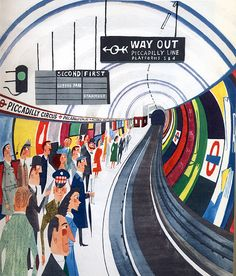 "Miroslav Sasek ""Piccadilly Circus Underground Station"""