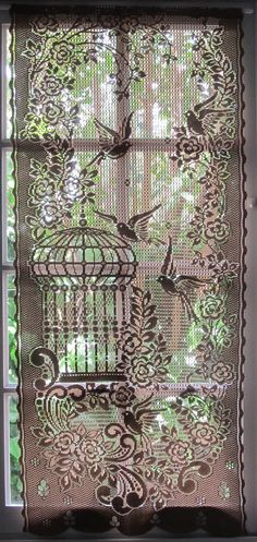 Bruine Lace gordijn tuindeuren gordijn Bird door LinenAndLetters