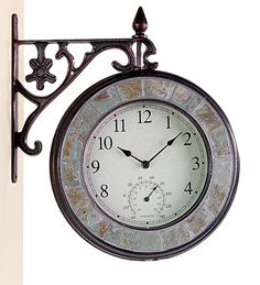 Double-Sided Cast Iron Clock with Thermometer