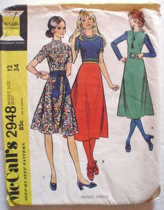 Boho Dress With Bias Skirt Sewing Pattern - McCall's 2948 - Size 12, Bust 34, Uncut by Shelleyville on Etsy https://www.etsy.com/listing/207919347/boho-dress-with-bias-skirt-sewing