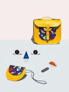 Honey & Toast X Moon Picnic - Exclusive | 'Make A Face' Pippin Purse - Beautiful contemporary leather coin purse for kids with a bold print about everyday emotions & expressions, inspired by Moon Picnic's Make A Face toy. Available exclusively at moonpicnic.com | Modern kids accessories, handmade in Somerset, England. 100% leather