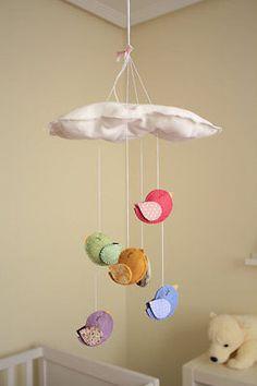 Bird+Cloud+Mobile:+modern+nursery+decor.+Newborn.+Nursery+decor.+Crib+mobile.