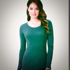 DAISY FUENTES FAVORITE LONG SLEEVED TEE IN GREEN Beautiful long sleeved tee by Daisy Fuentes. This top has great stretch to it. 67% Cotton; 43% Modal.  NEVER WORN - BRAND NEW. TRADES Daisy Fuentes Tops
