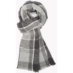 Theory Wool Boucle Plaid Scarf ($215) ❤ liked on Polyvore featuring accessories, scarves, mid grey multi, tartan scarves, woolen scarves, grey scarves, tartan shawl and wool plaid scarves