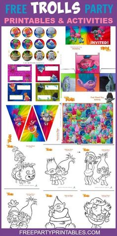 These FREE printable Trolls party pack and activity pages include lots of great ideas for your party! It comes with a maze, games, pin the hair on the troll, dot-to-dots, cupcake toppers, invitations, lots of coloring pages and much more!