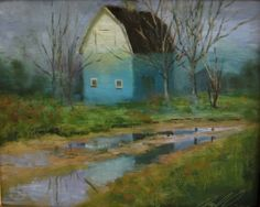 'Fading Blue Barn', painting by artist Justin Clements