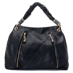 Michael Kors Pearlized Large Black Hobo.More than 60% Off, I enjoy these bags.It's pretty cool (: JUST CLICK IMAGE~ | See more about black leather, tote bags and michael kors.