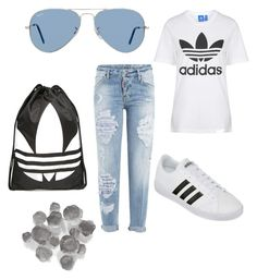 """""""Untitled #297"""" by dr-azzko ❤ liked on Polyvore featuring Dsquared2, Ray-Ban, Topshop, adidas and Palecek"""