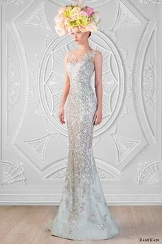 rami kadi spring 2014 couture collection hand embroidered swaroski sheer sweetheart neckline sheath dress