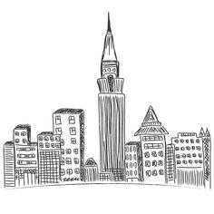 city skyline, New York, sketch by Anutik45 on @creativework247