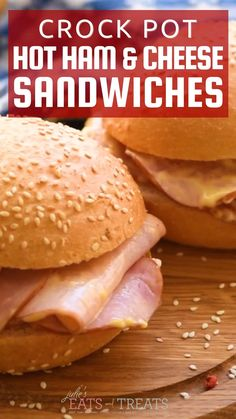 Hot Ham Sandwiches, Hot Sandwich Recipes, Crock Pot Slow Cooker, Crock Pot Cooking, Cooking Recipes, Leftover Ham Recipes, Best Crockpot Recipes, Partys, Ham And Cheese