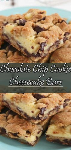 Need a an easy dessert - make these chocolate chip cookie cheesecake bars. They are the perfect marriage of chocolate chip cookies and cheescake! Chocolate Chip Cookie Cheesecake, Cheesecake Cookies, Chocolate Chip Cookies, Easy Appetizer Recipes, Easy Desserts, Easy Recipes, Dessert Recipes, Easy Family Meals, Popular Recipes