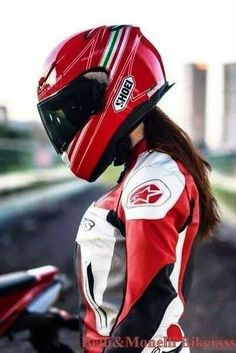Hot women in motorcycle leathers. Womens Motorcycle Helmets, Motorcycle Style, Motorcycle Girls, Lady Biker, Biker Girl, Ducati Monster, Motorbikes Women, Biker Love, Ducati Hypermotard