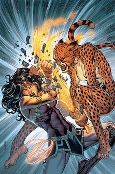 Wonder Woman vs Cheetah - DC Comics' August 2019 Solicitations - Year of the Villain Continues Wonder Woman Vs Cheetah, Wonder Woman Art, Wonder Woman Comic, Comic Books Art, Comic Art, Cheetah Dc Comics, Univers Dc, Arte Dc Comics, Comic Kunst