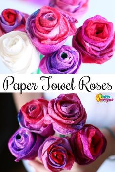 These paper towel roses are perfect for kids to make for Valentine's Day, Mother's Day or any time you need a homemade flower decoration. They're quick and easy to make, using only paper towels and straws. - Happy Hooligans #Valentines #ValentinesCrafts #MothersDayCrafts #PaperRoses #RoseCraft #KidsCrafts