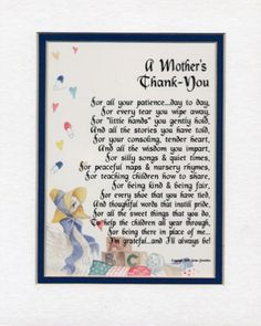 Amazon.com: A Gift For A Daycare Provider Or Pre-school Teacher. Touching 8x10 Poem, Double-matted in White Over Blue And Enhanced With Watercolor Graphics.: Home & Kitchen
