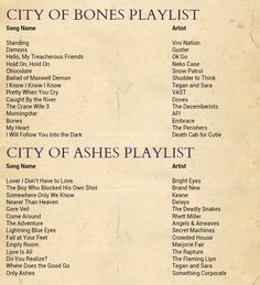 What her playlist for City of Bones and City of Ashes was