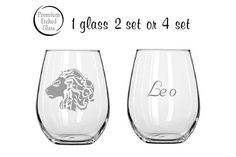 Listing is for 1, 2 or 4 Custom engraved stemless wine glasses. If you need more glasses then 4 simply request a custom order from us. They are etched with our custom fonts with Leo logo on one side and Leo text on the other. These glasses also can come complete with your name on the front or reverse side. Makes a great gift for that wine drinker.Please select from the drop down menu for quantity or to add a name.   Also to choose another style glass if you like.         * 100% Dishwasher…