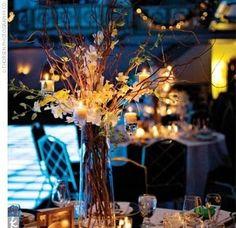 pink flowers, idea, centerpiec, spring weddings, candles, fall weddings, light, winter weddings, branches